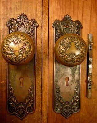 Ornate Victorian Bronze Door Knob Set Hardware Door Plates Vintage Knob