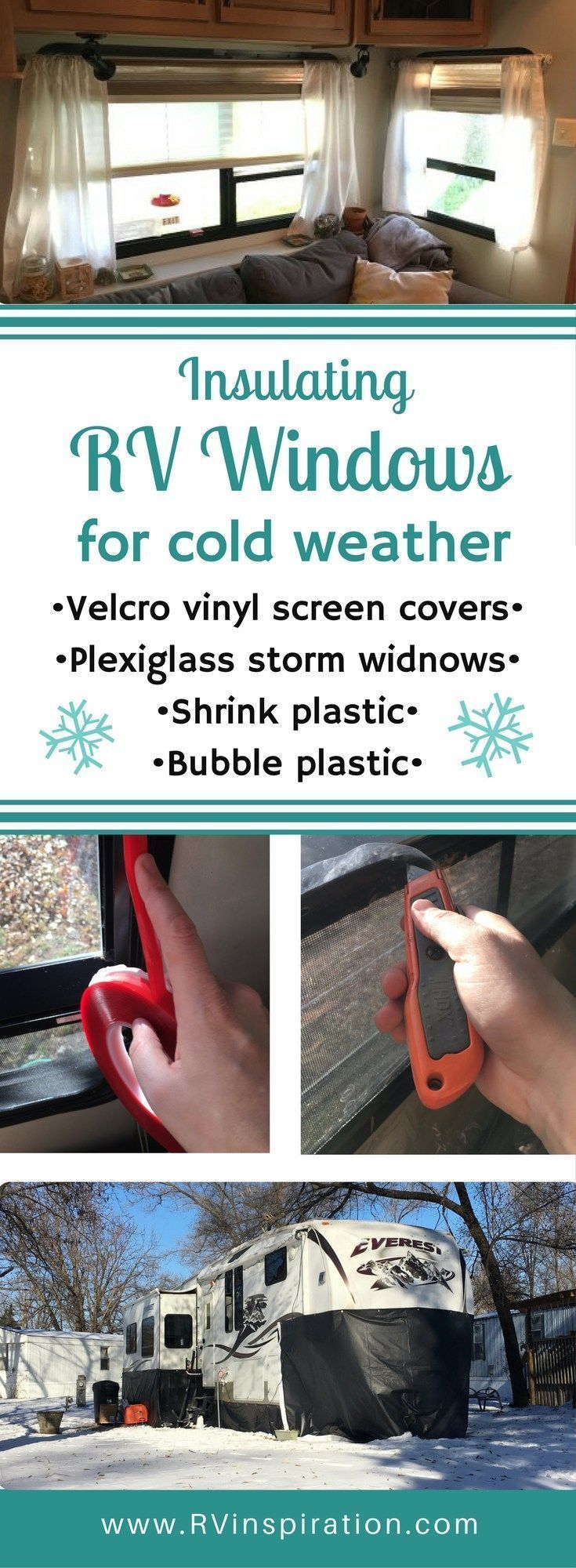 Here's how I made DIY plexiglass storm windows and clear vinyl Velcro screen covers to prepare my RV for cold weather this winter. #rvhacks