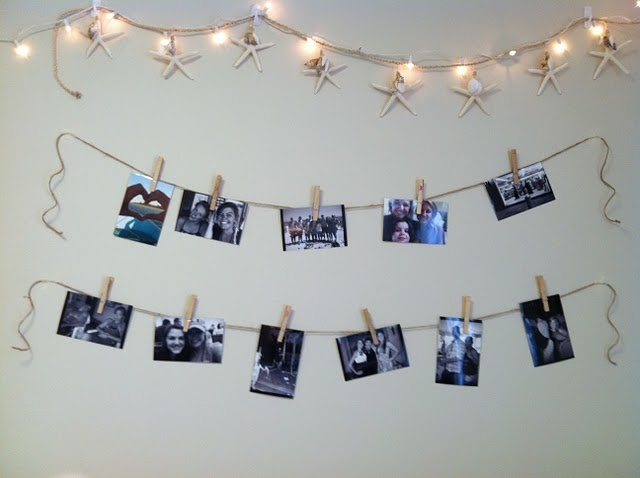 Easy beachy dorm decorating! Hang a ton of pictures with just some hemp and clothes pins.