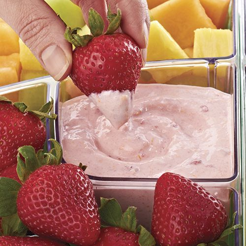 Strawberry Dip - I love to serve this light and fluffy dip in the Pampered Chef Cool and Serve, along with a variety of fruit