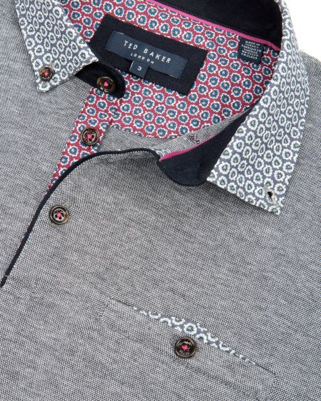 Printed collar polo - Navy   Tops & T-shirts   Ted Baker UK