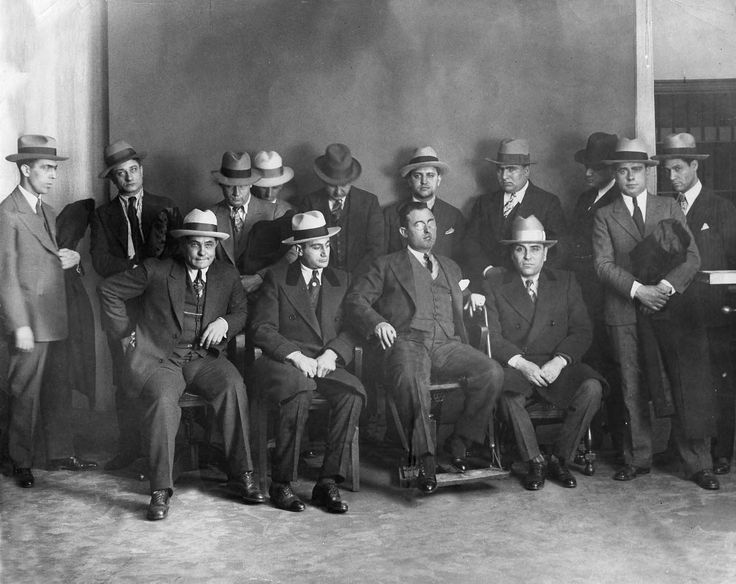 Mobsters rounded up by the Cleveland Police Department in 1928 at the Statler Hotel.