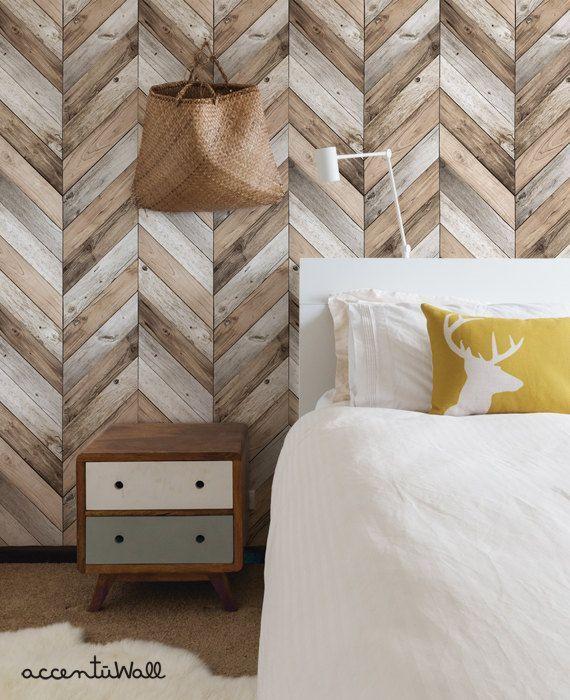 Chevron Wood Herringbone Wallpaper Original Self Adhesive Etsy Wood Wall Design Wood Plank Walls Wood Wallpaper Bedroom