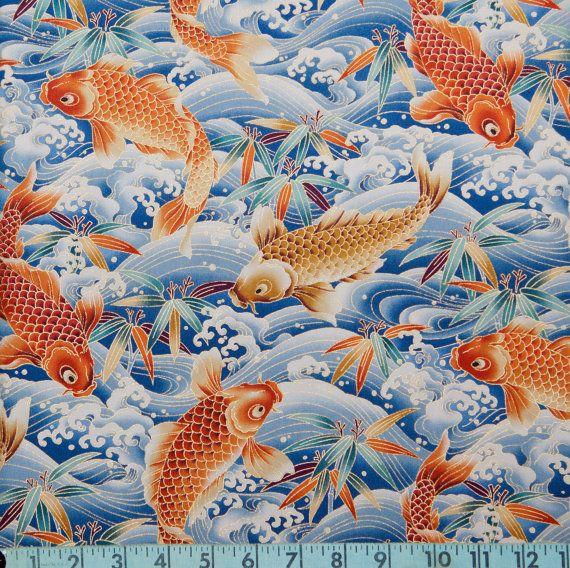 226 best koi fish in design images on pinterest goldfish for Koi fish print fabric