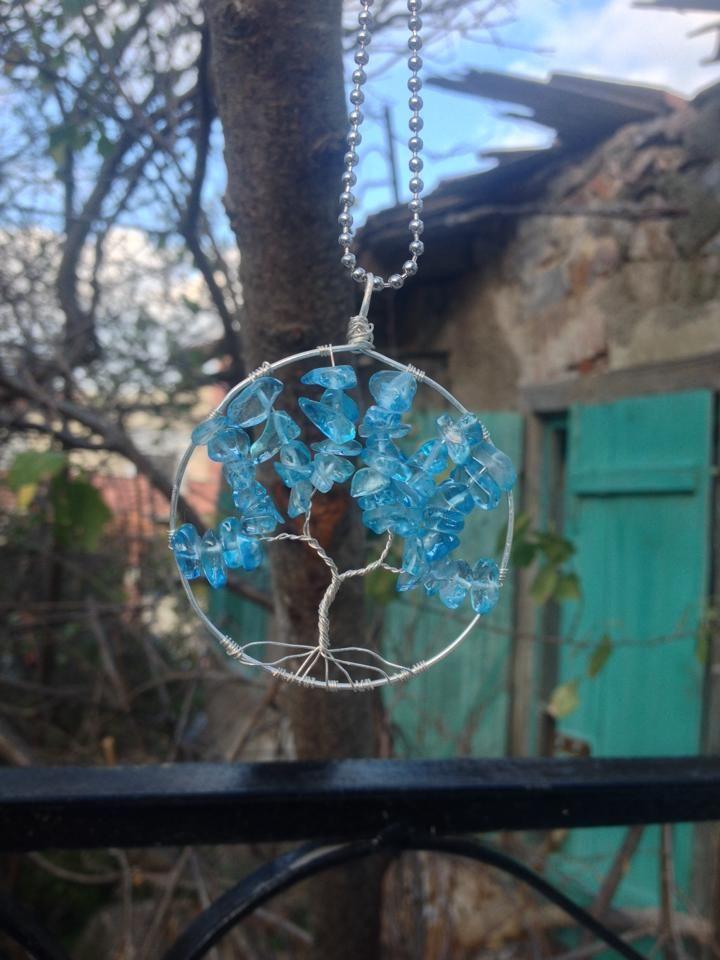 silver blue tree of life pendant