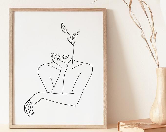 Oneline drawing curvy vase