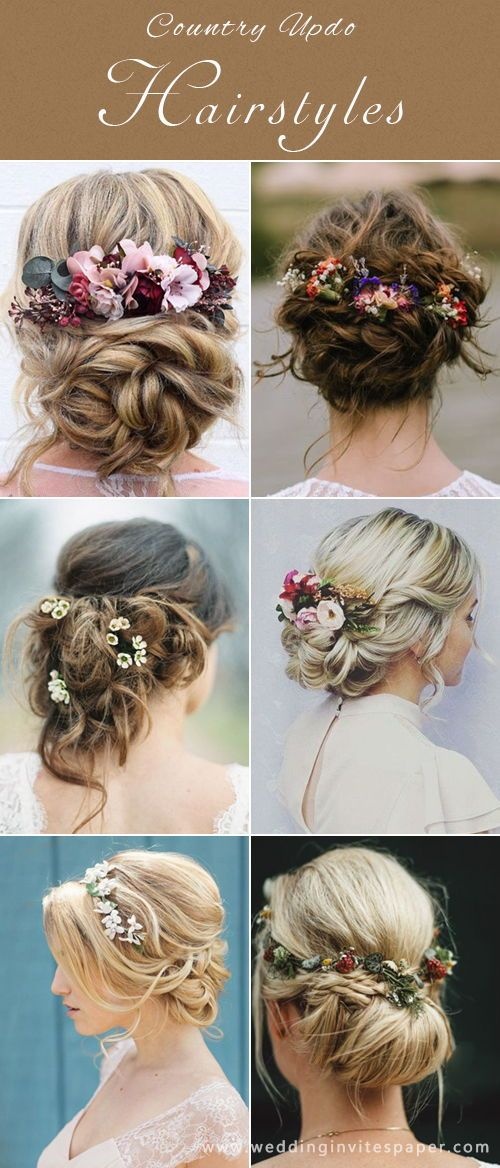 17 Enchanted Rustic Wedding Hairstyles---elegant bobo updo style with florals, spring country weddings, backyard weddings.