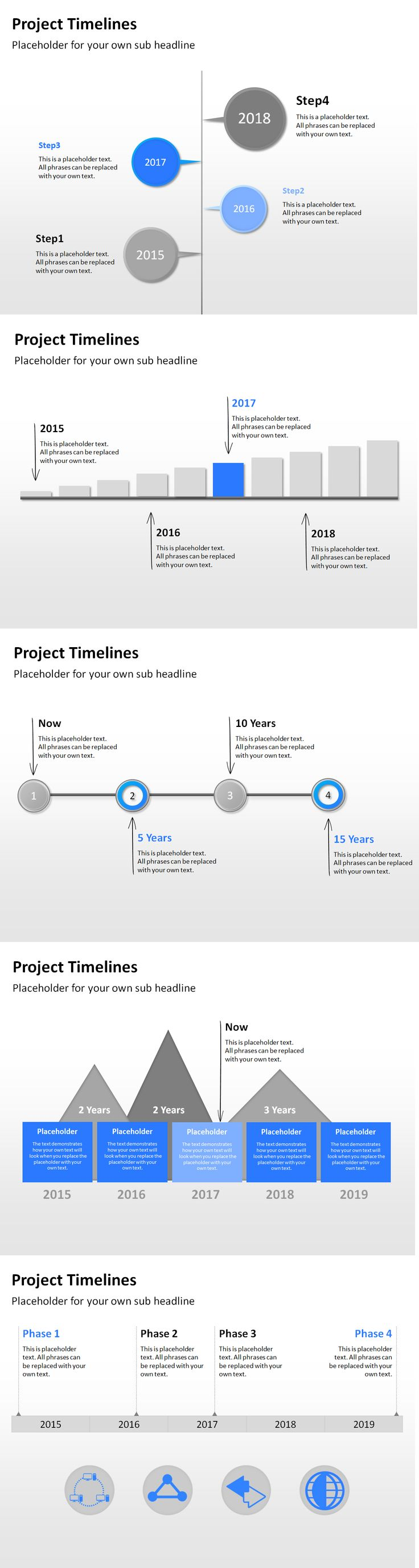 Show the progress of your project in a timeline for an appealing PowerPoint presentation