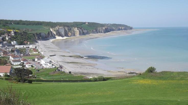 Vue sur Pourville sur mer en venant de Dieppe par la côte - Seine-Maritime - Haute Normandie - France