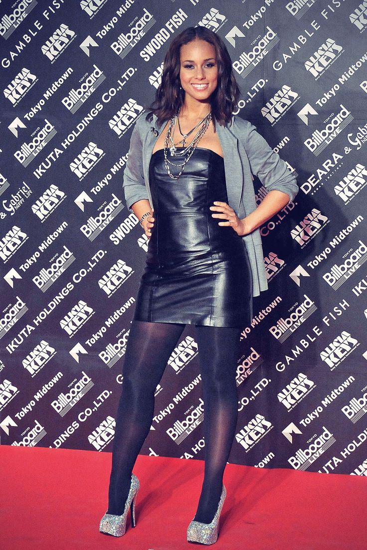 Fashion look from january 2016 featuring pink opaque tights round - Alicia Keys Tight Short Leather Dress Black Pantyhose And Heels