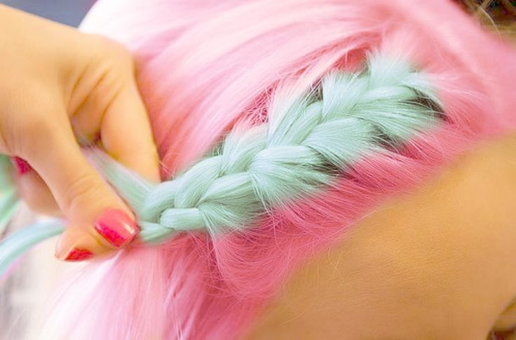 pink and aqua/mint braid. because this is in no way photoshopped