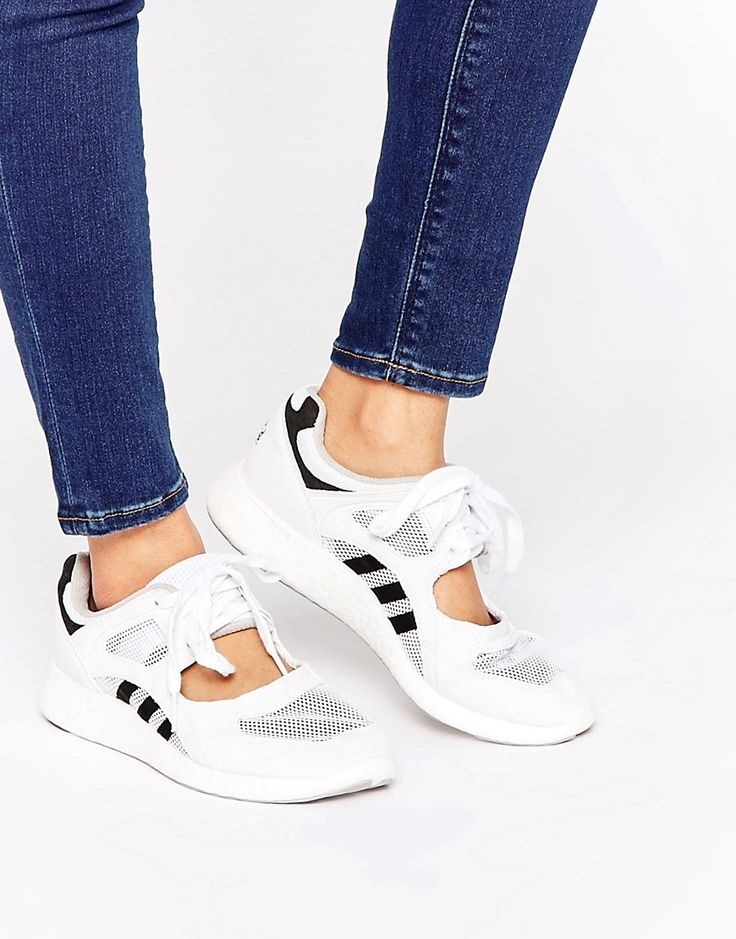 Image 1 of adidas Originals White Lace Up Open Sneakers