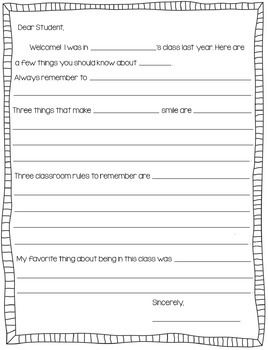 Is the end of the year approaching? Get students writing with this cute advice letter to a student in your class next year.