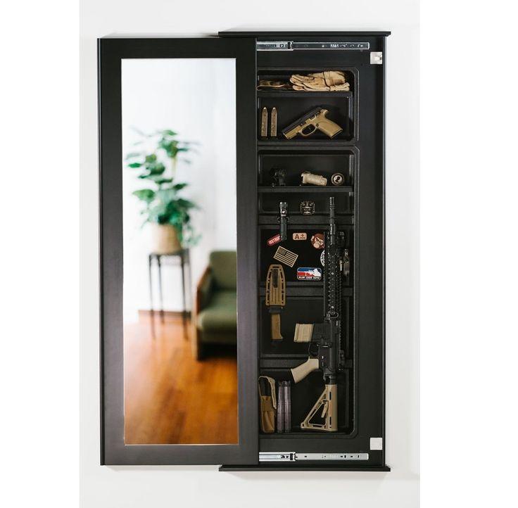 Sliding mirror wall safe