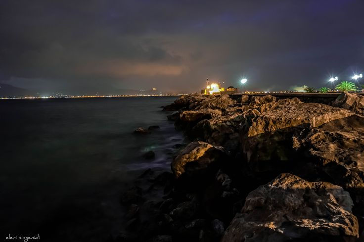 when the night comes the lights of Bourtzi castle glow from the port! - Nafplio - Peloponnese - Greece