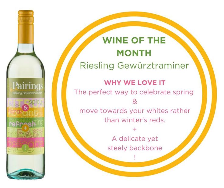 WINE OF THE MONTH :: SEPTEMBER This month we're featuring our Pairings Riesling Gewürztraminer. Over the next few weeks we'll let you in on a few little known facts about this wine, and why you should definitely be drinking it throughout September! Get yours: https://m.danmurphys.com.au/list/pairings-wines