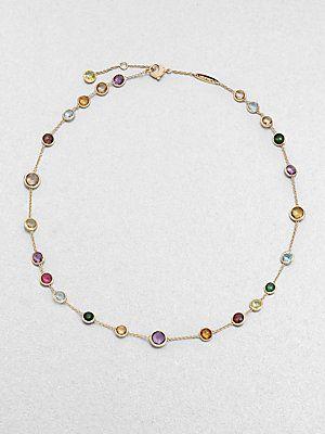 Marco Bicego Semi-Precious Multi Stone 18K Gold Station Necklace
