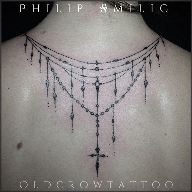 Back tattoo by Philip Milic at Old Crow Tattoo. Back necklace jewellery, pretty & girly