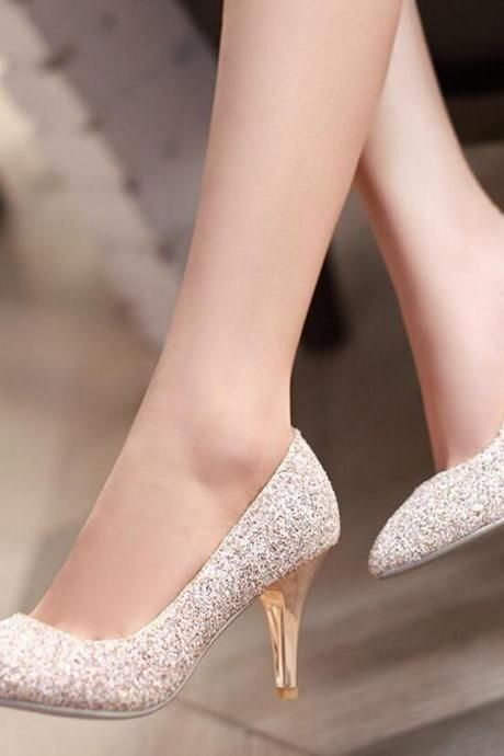 Women's Krean Sequined Glass Slipper Pumps
