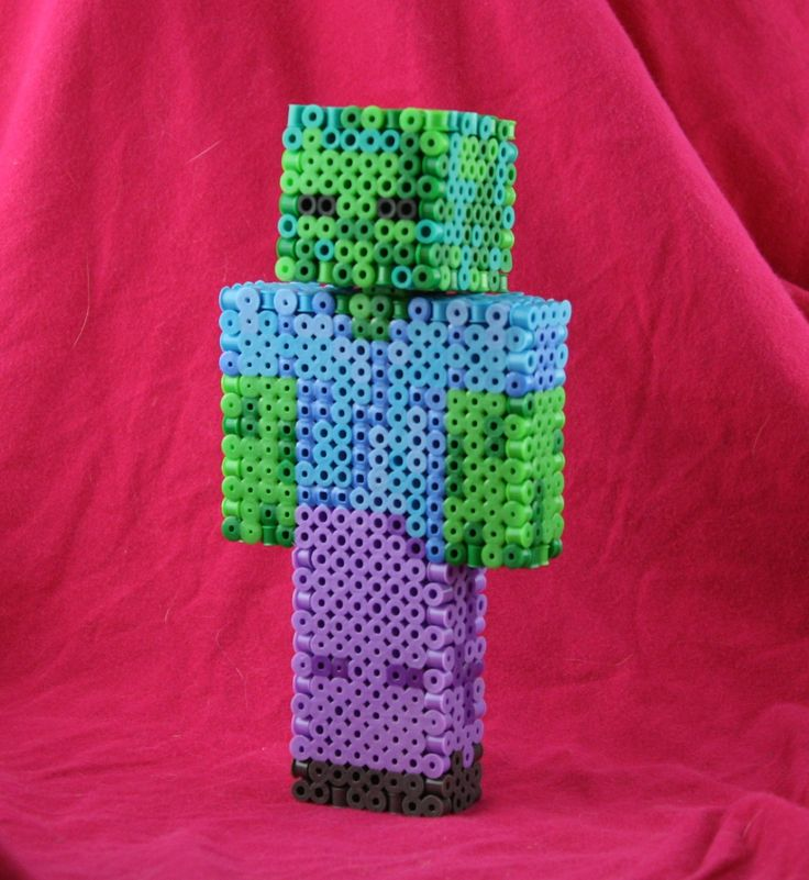 3D Minecraft Zombie, Cow, Steve, Creeper, and Wedding Couple Made of Perler Beads