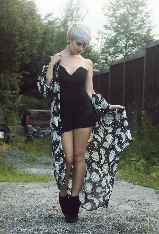 Black romper and long kimono and wedge booties