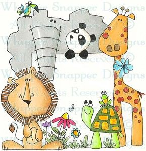Zoo Party - Zoo - Animals - Rubber Stamps