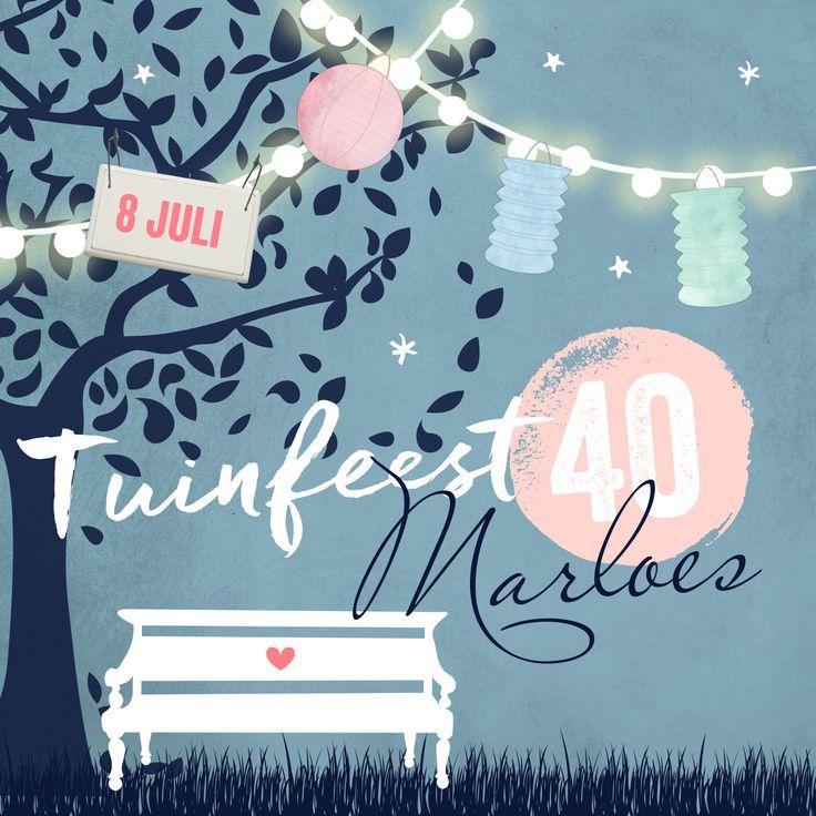 Uitnodigingskaart voor een tuinfeest om samen met familie en vrienden je veertigste verjaardag te vieren.