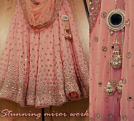 Absolutely stunning lehenga  with mirror work will definitely make you look gorgeous .