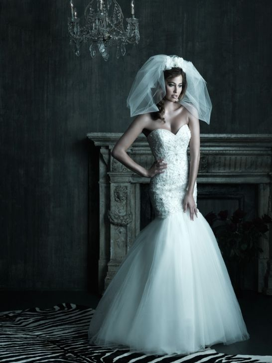 Net and Satin Sweetheart Neckline Mermaid Wedding Dress with embroidery and Swarovski crystals AC208
