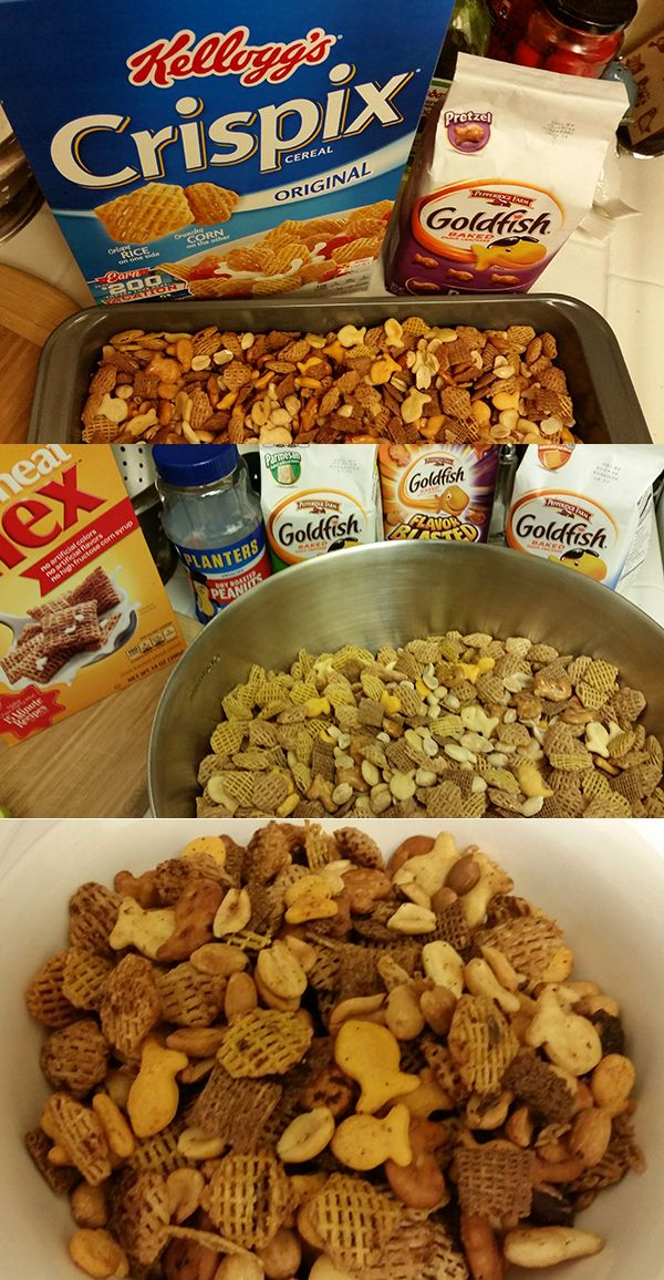 This recipe is basically a conglomeration of The Original Chex Party Mix, Crispix Mix, and Pepperidge Farm Goldfish Snack Mix.