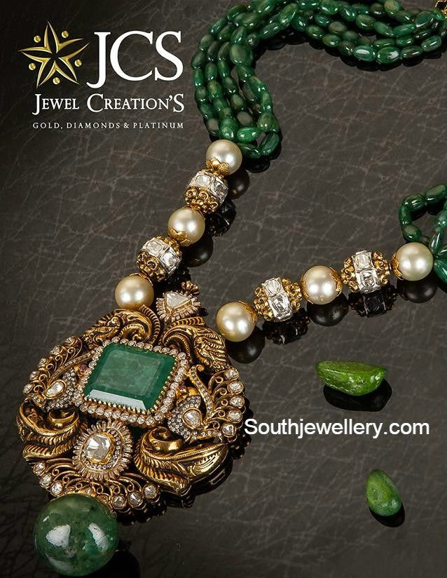 Emerald chain with uncut diamond pendant