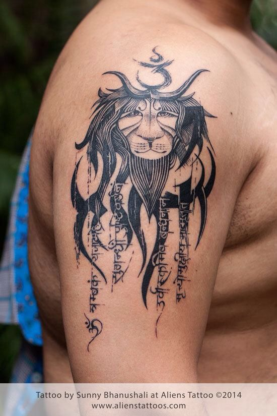 tribal lion with mantra tattoo concept design and inked by sunny bhanushali at aliens tattoo. Black Bedroom Furniture Sets. Home Design Ideas