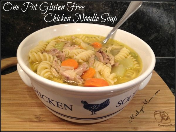 Easy one pot gluten free chicken noodle soup -- make your broth and soup all in one pot, and round it off with gluten free noodles!