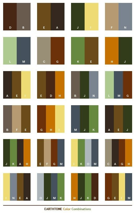 Earth Tones color matching chart