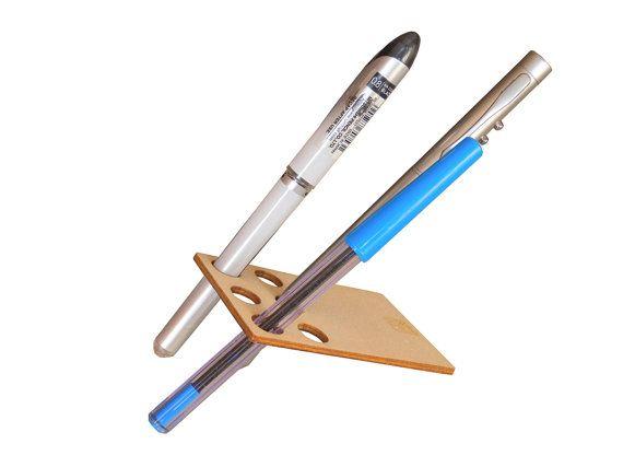 Laser cut wood penholder Office desk by DigitalHandmade on Etsy