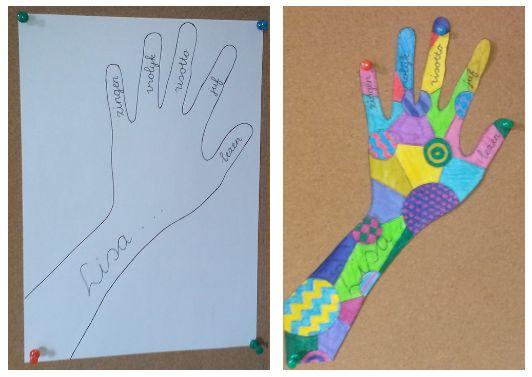 In elke vinger iets schrijven over jezelf. Daarna husselen en raden welke hand van wie is.