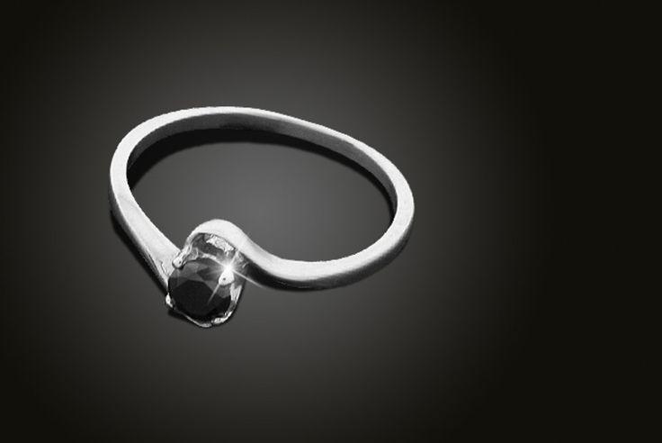 25 Point Carat Black Diamond Ring
