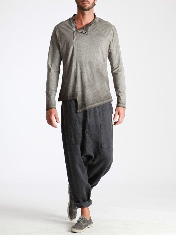 Aged thick Linen Low Croth Pants by SYNGMAN CUCALA