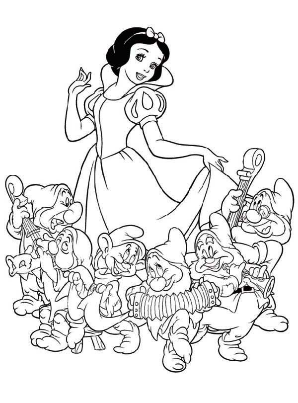 Snow White And The Seven Dwarfs Coloring Pages Snow White Coloring Pages Disney Coloring Pages Princess Coloring Pages