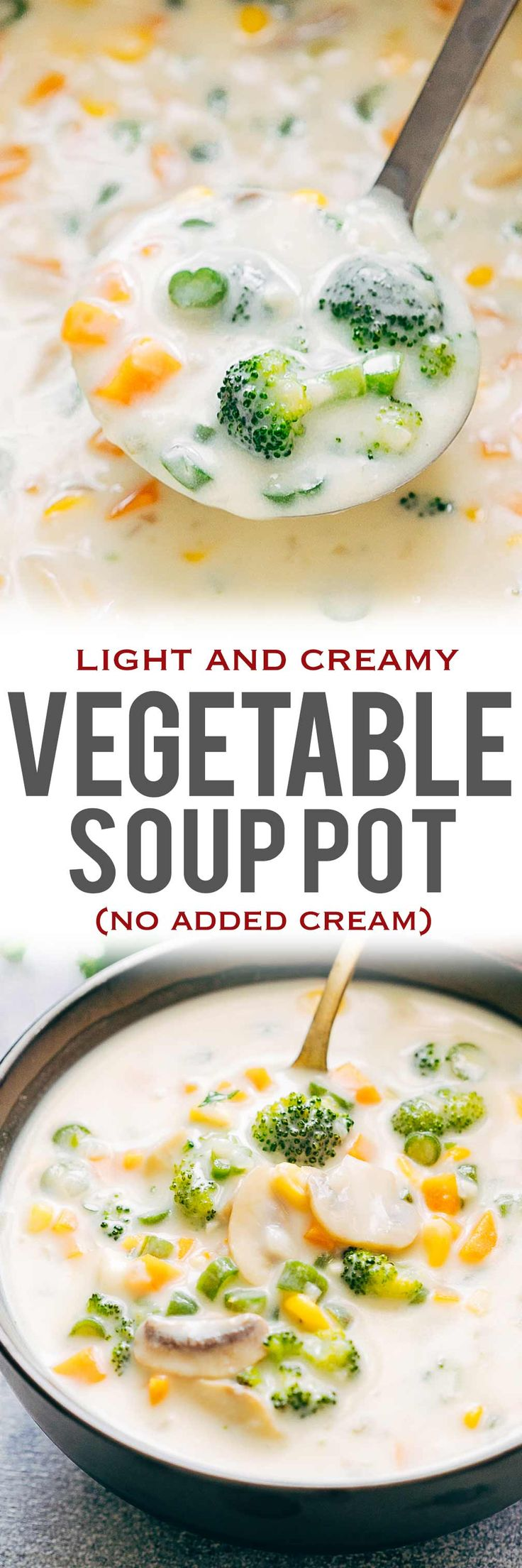 Homemade Creamy Vegetable Soup is an insanely delicious, creamy vegetable soup without any cream. Its perfect if you are looking for a vegetarian meal or just something light and easy. Add chicken, pasta, ham or shrimp to amp up this cream of vegetable soup via @my_foodstory