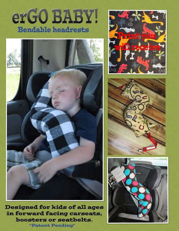 ergo baby bendable baby toddler headrest carseat pillow and cover in multi dinos on black