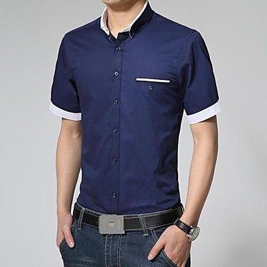 la moda de manga corta camisa de vestir de los hombres 2844256 2017 – $15.99