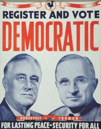 Franklin Roosevelt-Harry Truman (D) Campaign Poster, 1944.  The rooster was the traditional democratic symbol
