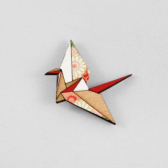 Red Origami Paper Crane BroochLasercut Wood by folditcreations