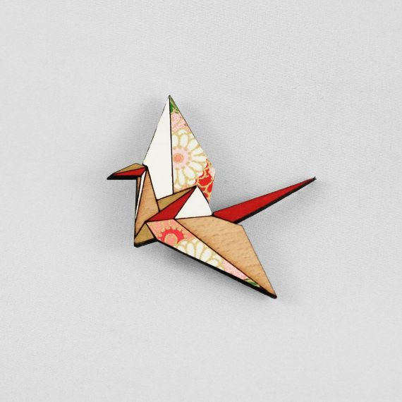 Red Origami Paper Crane BroochLasercut Wood by folditcreations