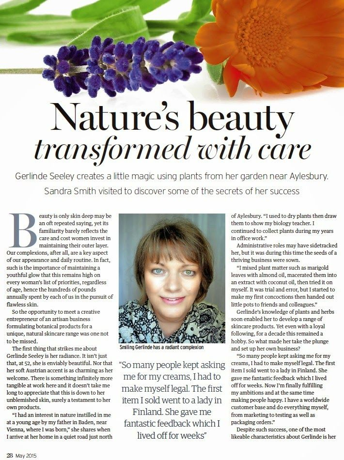 This was my FIRST ever interview for an article in a glossy magazine and I was so incredibly nervous back in February when Sandra, a brilliant freelance Journalist, arrived at my home.  Sandra heard about my company from a friend and was eager to interview me for a special 'Inspirational women' edition in the Buckinghamshire and Berkshire Life Magazine. ... and here is the article - enjoy!