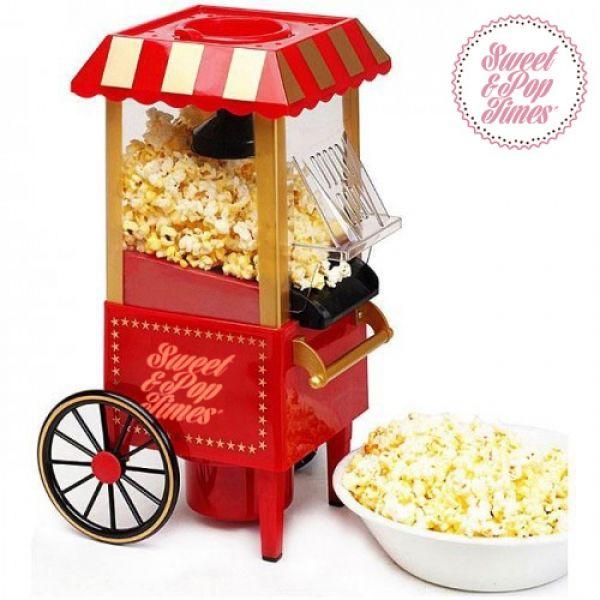 Máquina para hacer palomitas en casa con un estilo muy retro y muy acertado. Una película, una fiesta, para golosos como tú. Regalos originales para la familia