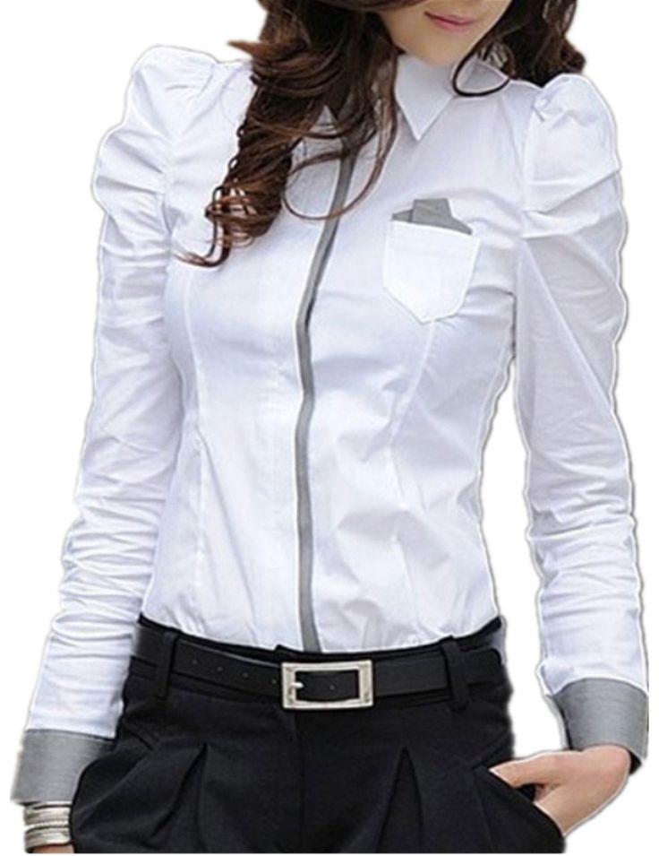 Sexy Ol Women Fashion Shrug Bubble Long Sleeve Slim Cotton Shirt Blouse Top (S)