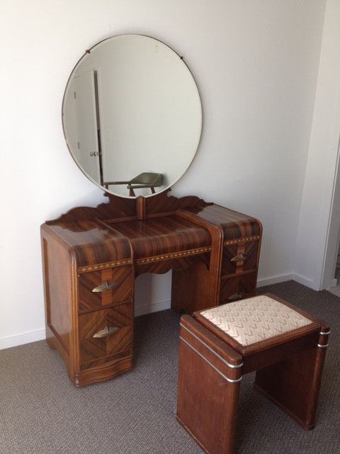 This is a very elegant 1930's vintage silver tone metal dressing table vanity set, with plastic Art Deco green faux enamelled guilloche backs. Description from pinterest.com. I searched for this on bing.com/images