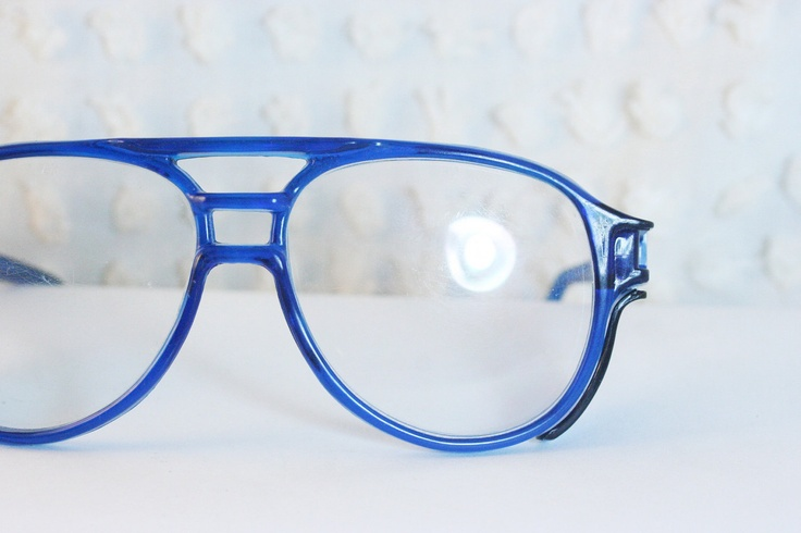 Bright Blue 1990s Safety Eyeglasses Translucent Triple ...